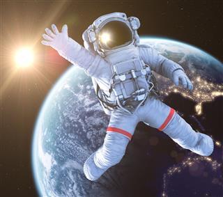Waving Astronaut, 3d render