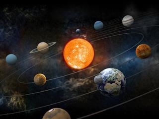 Sun and nine planets orbiting