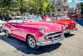 Old American Cars Havana Street Cuba