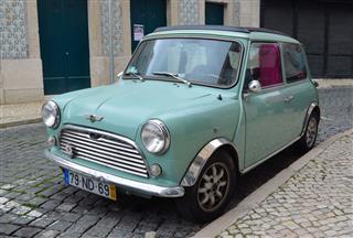 Classic Light Blue Austin Mini Motorcar