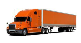 Large Orange Trailer Truck