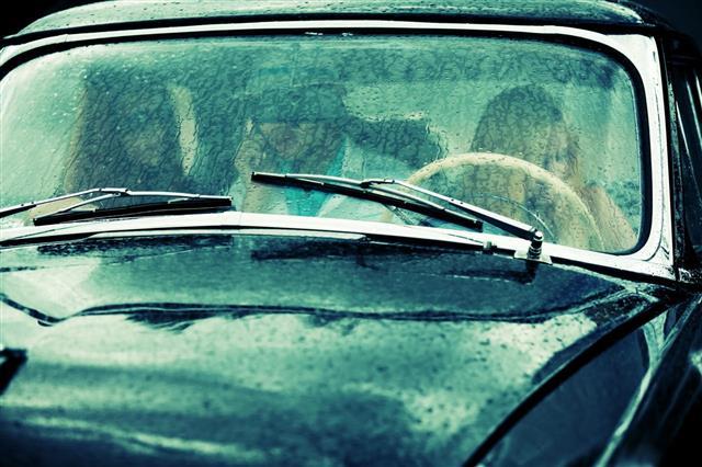 Retro Car In The Rain