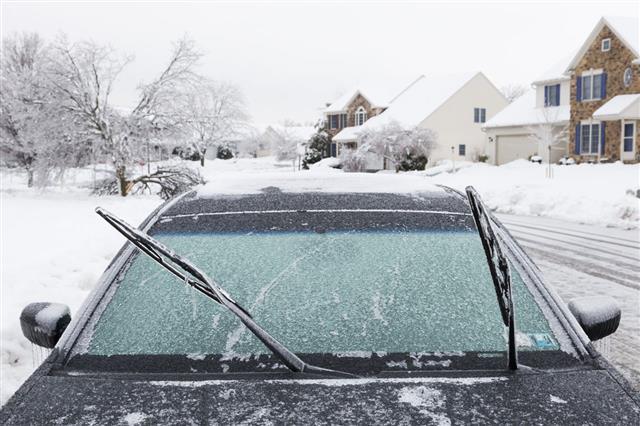 Frozen Wiper Blades On A Car