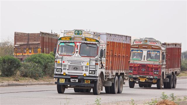 Trucks Moving Through Rajasthan India