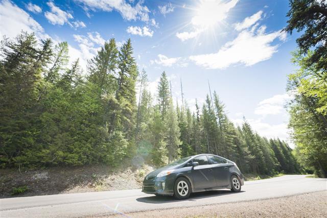 Toyota Prius Hybrid Car On Road