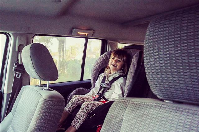 Boy Sitting On Car Seat