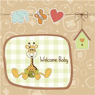 Baby shower card with giraffe