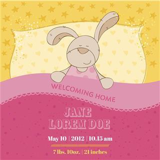 Arrival Card with Sleeping Bunny
