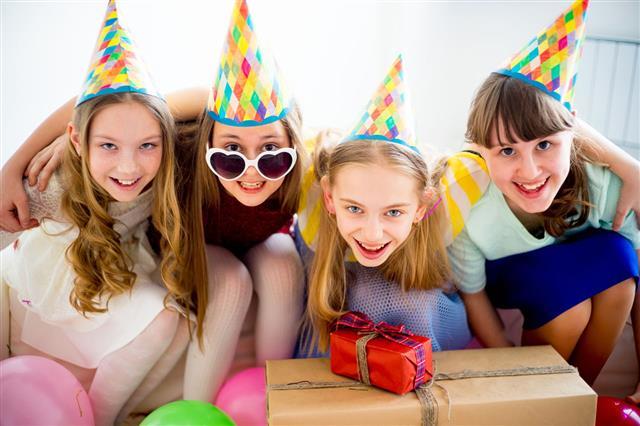 Girls Celebrating Birthday