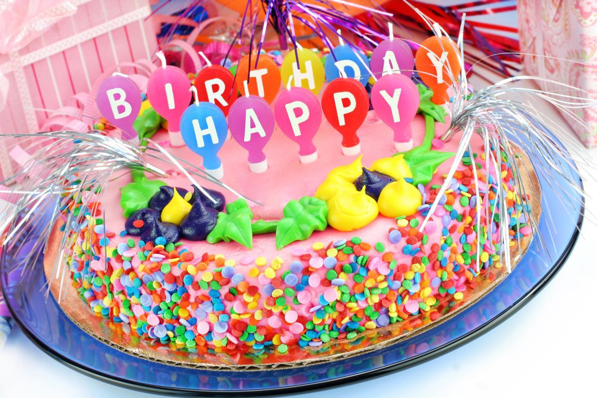 Colorful Happy Birthday Cake