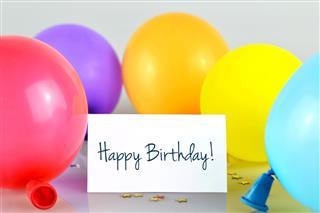 Happy Birthday card and balloons