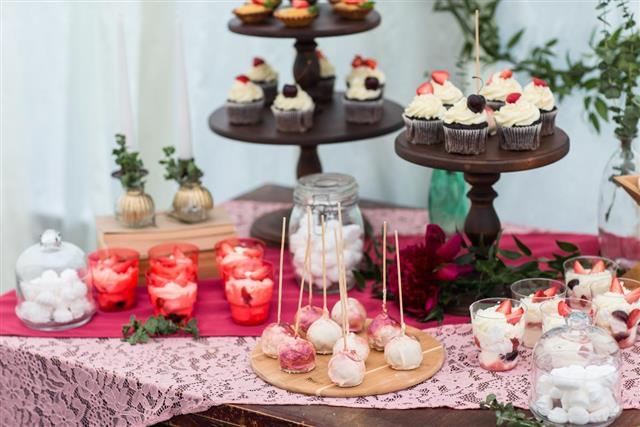 Dessert table in restaurant