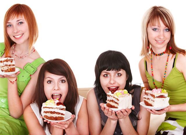 Group Girl Eating Chocolate Cake