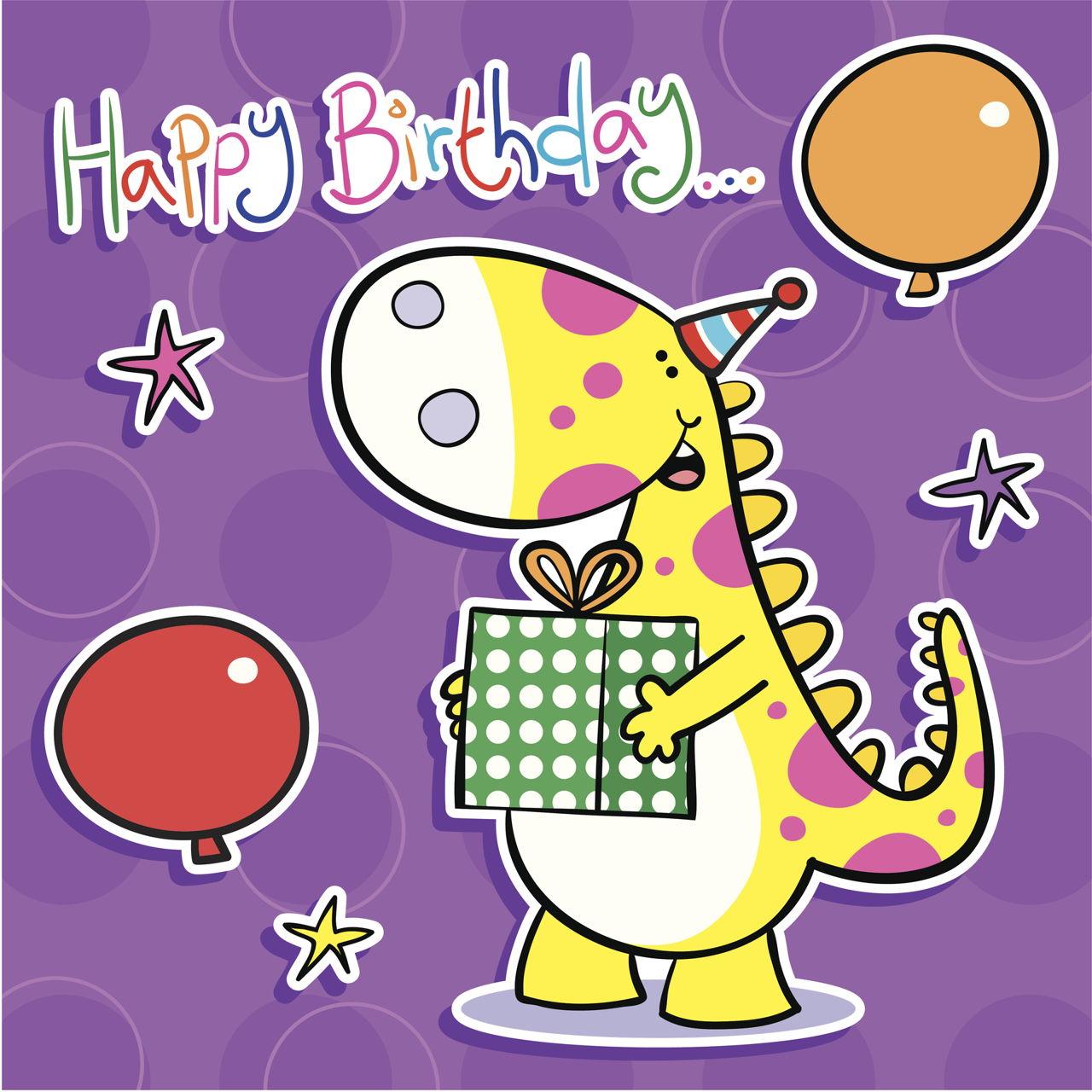 Для, динозавр открытка с днем рождения