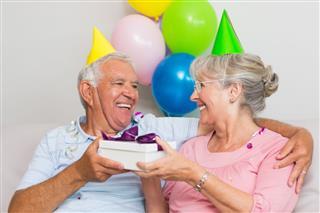 Senior Couple Celebrating Birthday