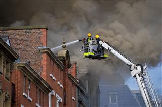 British Firemen In Action