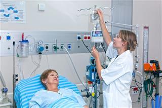 Doctor Preparing Drop Counter For Patient