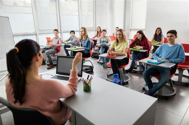 School Students Attending A Modern Class