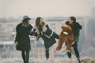 Happy Young Women Having Fun Outdoors