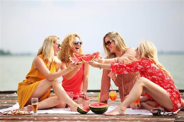 Women Enjoying Beautiful Summer Day