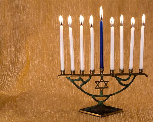 Blue And White Hanukkah Menorah