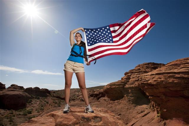 Hiking Girl With Us Flag