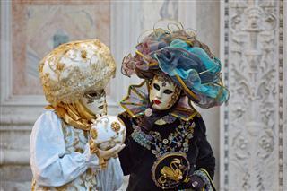 Venetian Costume Attends Carnival