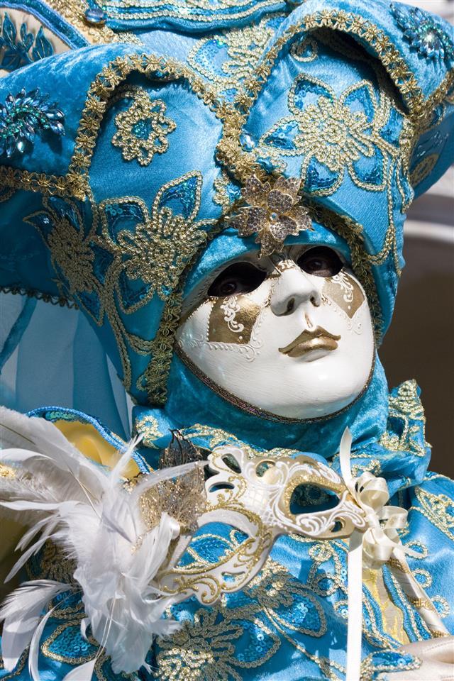 Venetian Blue Carnival Mask Venice Italy
