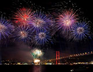 Fireworks At Bosphorus Bridge