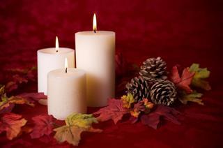 Autumn Decoration With Lit Candles