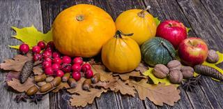 Orange Pumpkins And Red Apples