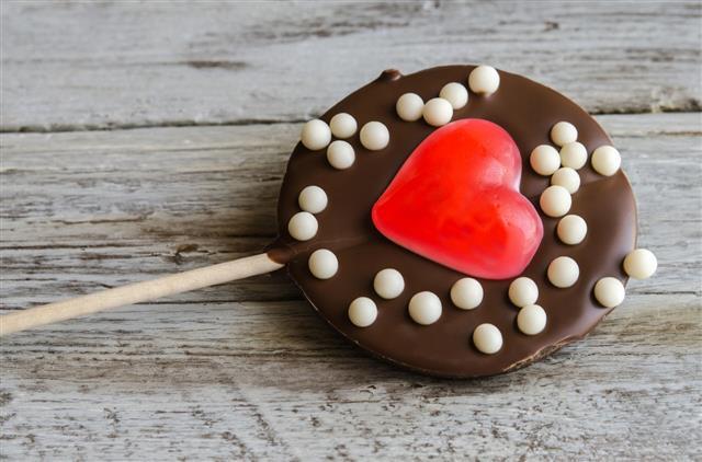 Close Up Of Chocolate Lollipop