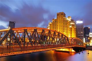 Night View Of Shanghai Garden Bridge