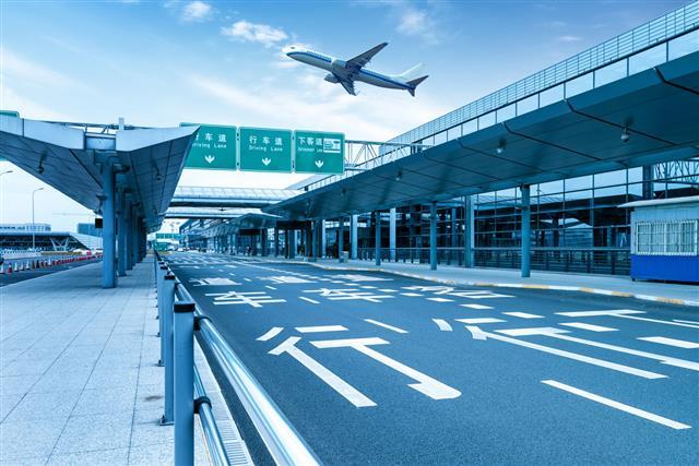 Road Running Through Shanghai Pudong Airport