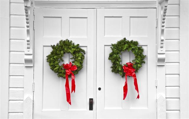 Church Double Door Christmas Wreaths