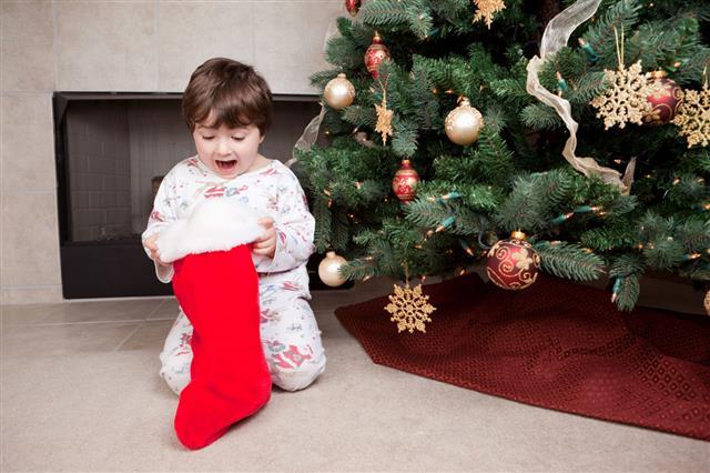 Boy With Christmas Stocking