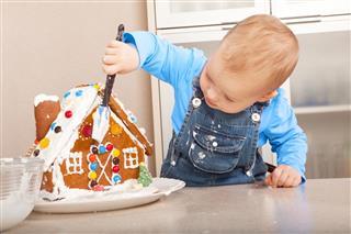 Girl Decorating The Christmas House