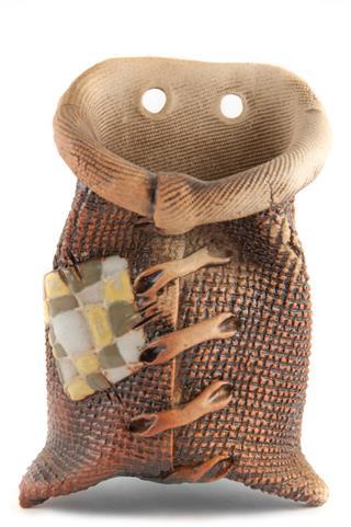 Clay Pots In Burlap Sack