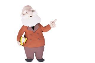 Homemade Clay Figurine Old Professor