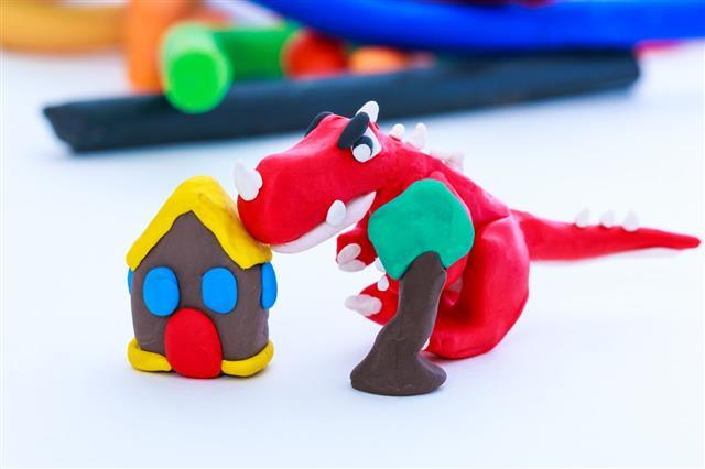 Dinosaur House And Tree Clay Model