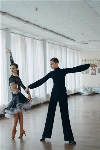 Professional Dancers Dancing In Ballroom Latin
