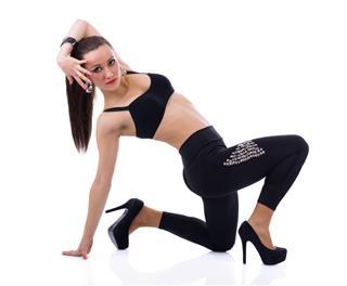 Female Dancer Posing Isolated On White