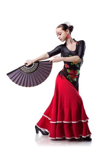 Young Woman Dancing Flameno On White