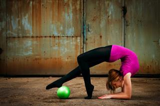 Grunge Rhythmic Gymnastics Dancing With Ball
