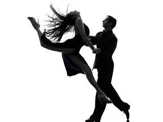 Couple Man Woman Ballroom Dancers Tangoing