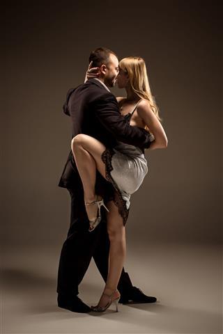 Man And Woman Dancing Argentinian Tango