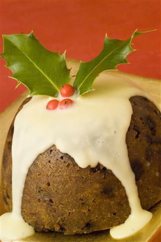 Christmas Pudding With Sauce