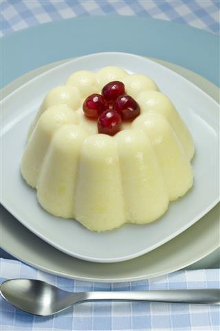 Semolina Pudding On A White Plate
