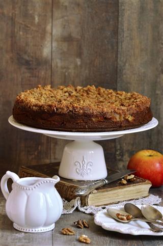 Apple Pie With Walnut And Sugar Glaze