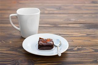 Homemade Chocolate Brownie With Almond